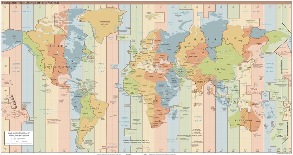 Zonas horarias. Link al final de la página para mayor resolución (Fuente: Wikipedia)
